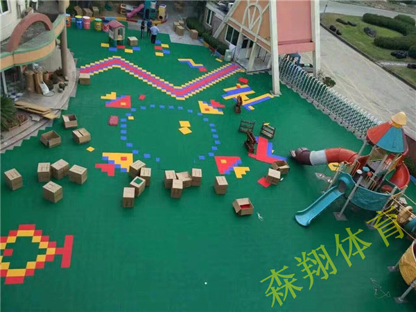 渭南幼儿园体育设施,地面施工